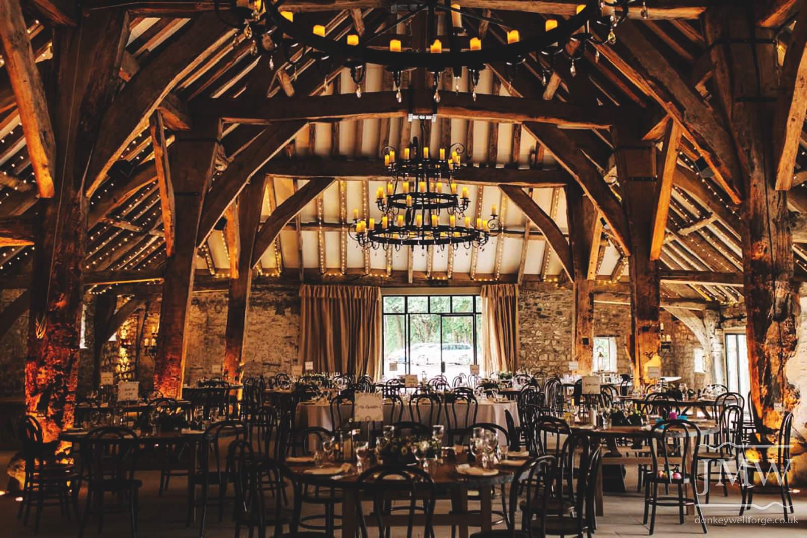 bespoke-candelabras-large-wedding-venue-tithe-barn-iron-blacksmith-donkeywell-forge