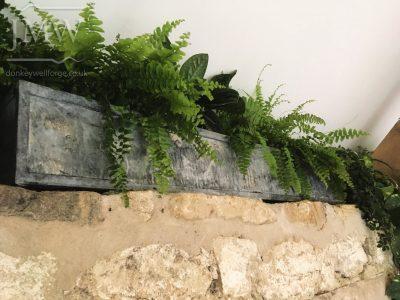 Healey-barn-wedding-venue-wall-planters-trough-lead-zinc-finish