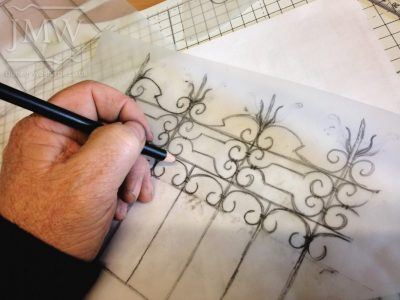 working-blacksmith-sketch-drawn-iron-railing-gloucestershire-bespoke
