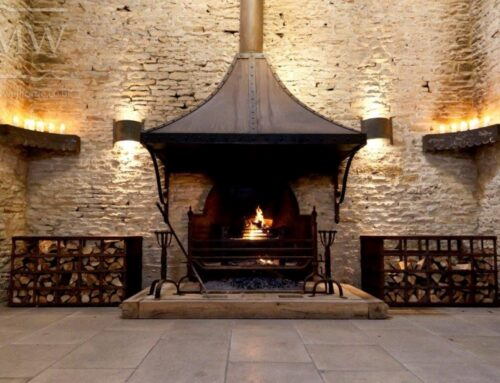 Stone Barn Fire Pit, Hood and Wood Store