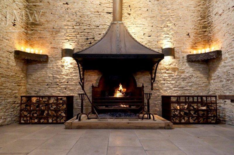 firehood-chimney-iron-wedding-venue-cotswolds-barn-donkeywell-forge-riveted