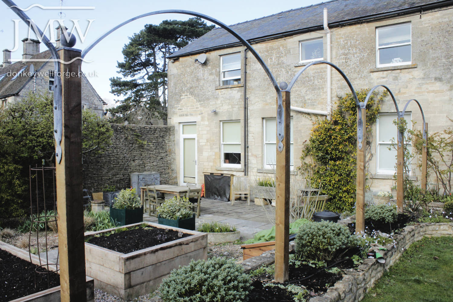 country-house-garden-steel-arches-galvanized-zinc-lead-finish-forged-metalwork