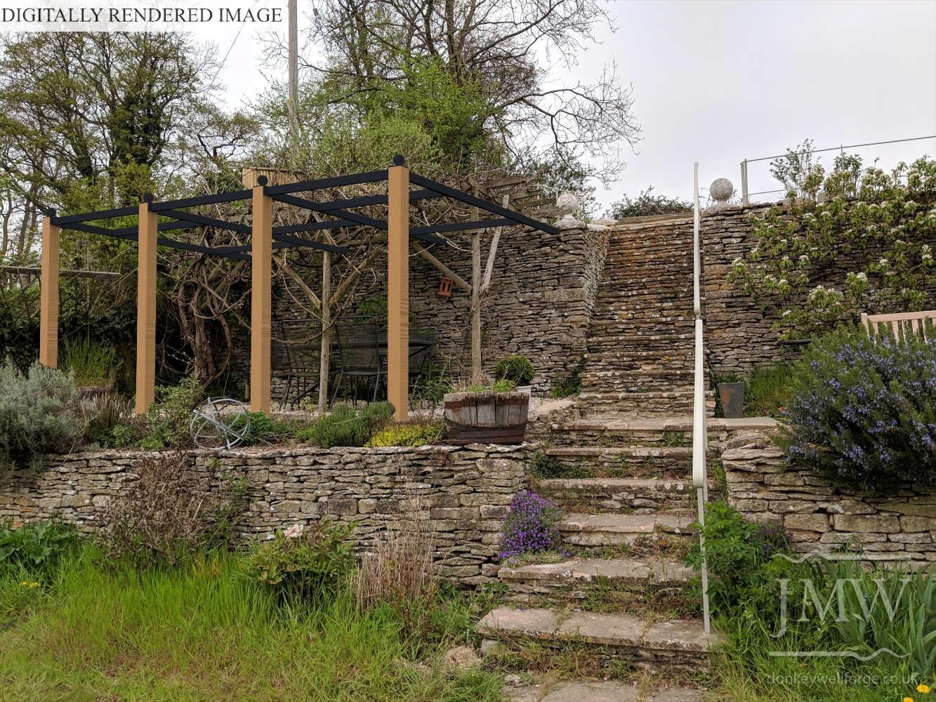 digitally-rendered-pergola-metalwork-garden