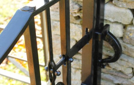 traditional-ornate-decorative-forged-ironwork-pedestrian-gates-latch-donkeywell-forge