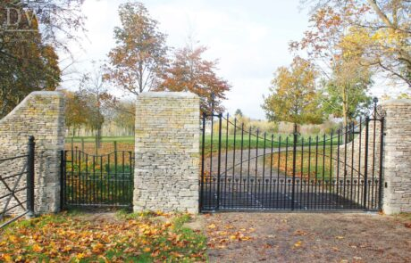 traditional-ornate-decorative-finials-forged-ironwork-gates-pedestrian-estate-swellings-scrolls-donkeywell-forge