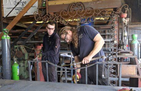traditional-ornate-decorative-forged-ironwork-gates-pedestrian-estate-riveting-blacksmith-donkeywell-forge